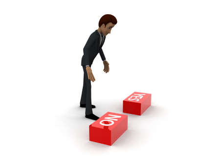 yes button: 3d man choose red no button from no and yes button concept on white background- 3d rendering , side angle view