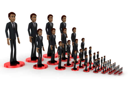 men standing: 3d men standing on connected network connection concept on white background - 3d rendering , side angle view