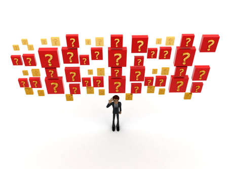 man flying: 3d man and flying box question marks concept on white background- 3d rendering , top angle view