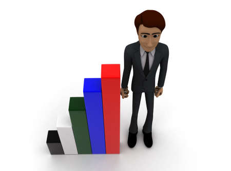 statics: 3d man presenting colourful bar graph concept on white background- 3d rendering , top angle view