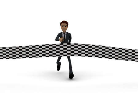 about: 3d man about to finish race concept on white background- 3d rendering , front angle view Stock Photo