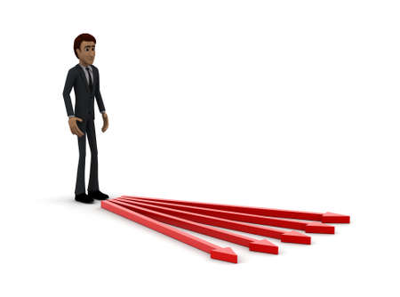 coming out: 3d man- arrows coming out concept on white background- 3d rendering , side angle view