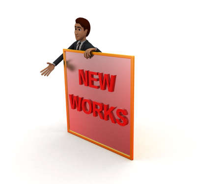 accelerate: 3d man presenting a board - new skills text in it concept in white isolated background, front angle view