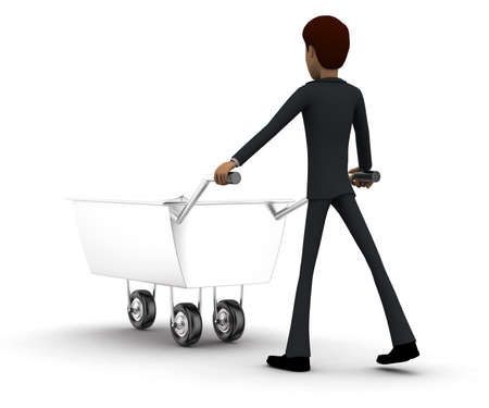 containing: 3d man pulling trolley containing traffic cone in hands concept in white isolated background, back angle view