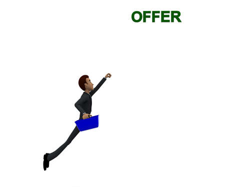 flying man: 3d man holding a basket and flying upwards towards offer concept in white isolated background, front angle view