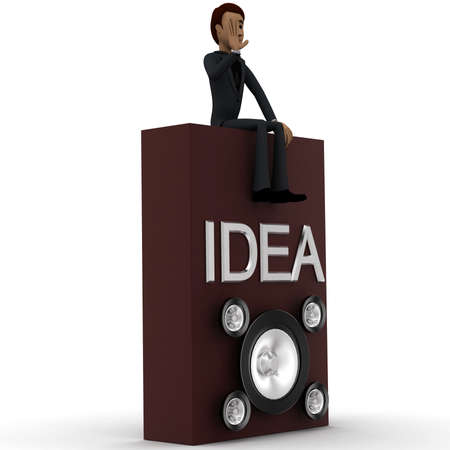 loud speaker: 3d man conveying idea through loud speaker concept in white isolated background, side angle view Stock Photo