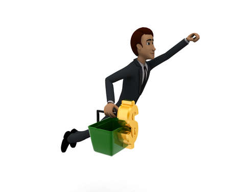 flying man: 3d man holding a basket, a dollar sign in it and flying upwards concept in white isolated background, side angle view
