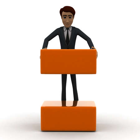 arranging: 3d man arranging box in order concept in white isolated background, front angle view