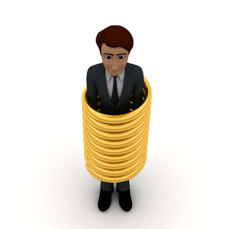 tied up: 3d man inside a tied up golden ring concept in white isolated background, top angle view Stock Photo