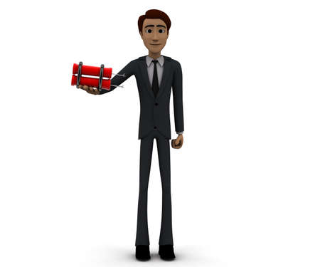 dynamite: 3d man holding dynamite concept in white isolated background, front angle view