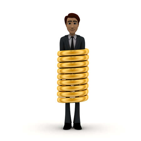 tied up: 3d man inside a tied up golden ring concept in white isolated background, front angle view Stock Photo