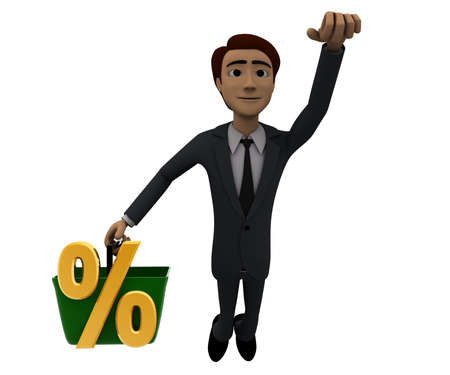 man flying: 3d man holding a basket, a percentage sign in it and flying upwards concept in white isolated background, front angle view Stock Photo
