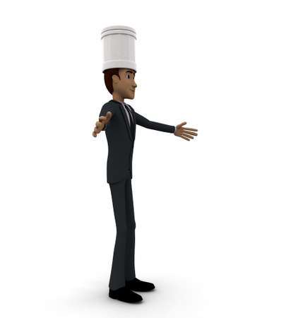 welcoming: 3d chef welcoming concept in white isolated background, side angle view Stock Photo