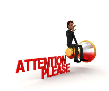 at attention: 3d man sitting on mega speaker - attention please concept in white isolated background, side angle view