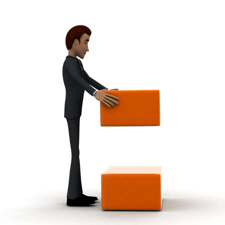 side order: 3d man arranging box in order concept in white isolated background, side angle view