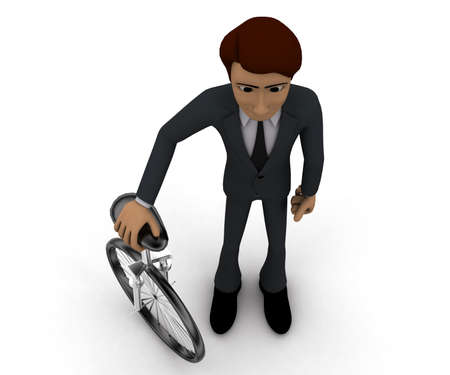 unicycle: 3d man with unicycle concept in white isolated background, top angle view