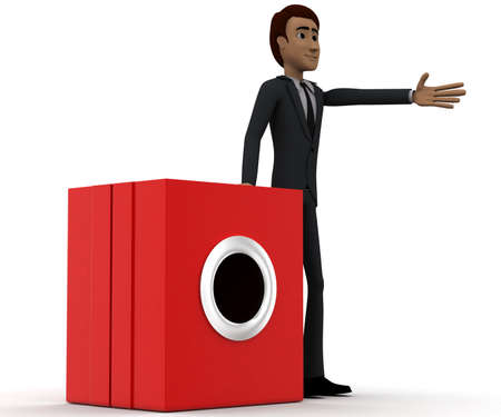 machine man: 3d man presenting washing machine concept in white isolated background, side angle view