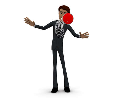 spring out: 3d man - a spring messenger pop out from body concept in white isolated background, front angle view