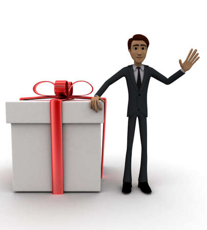 front angle: 3d man presenting gift concept in white isolated background, front angle view