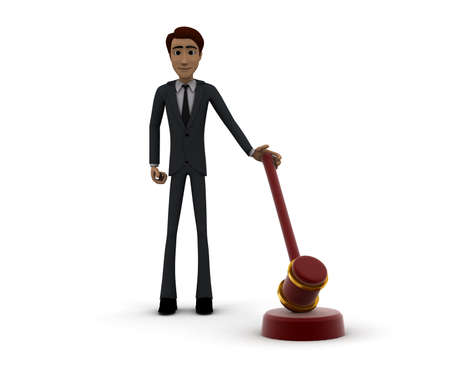 front angle: 3d man holding law hammer concept in white isolated background, front angle view