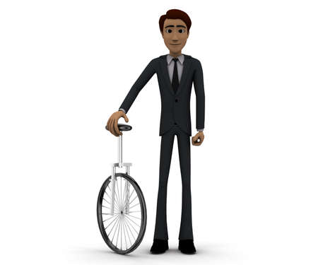 unicycle: 3d man with unicycle concept in white isolated background, front angle view