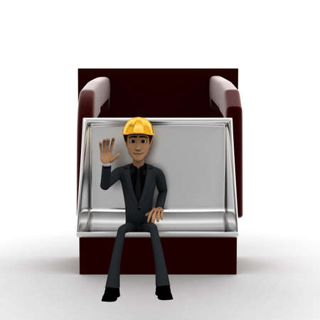 mover: 3d man sitting in a earth mover concept in white isolated background, front angle view Stock Photo