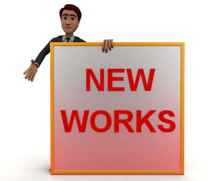 works: 3d man presenting a board - new works text in it concept in white isolated background, front angle view