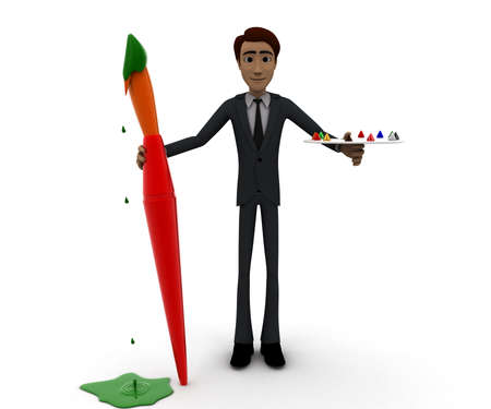 paint palette: 3d man holding a paint brush and paint palette concept in white isolated background, front angle view