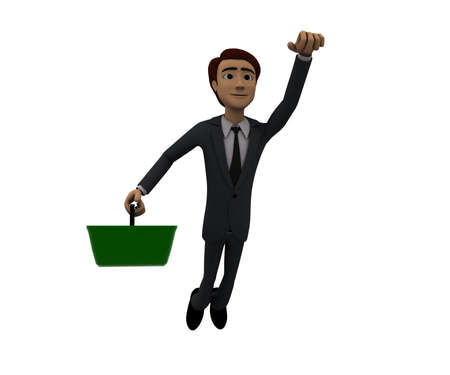 flying man: 3d man holding a basket, a sign in it and flying upwards concept in white isolated background, front angle view Stock Photo