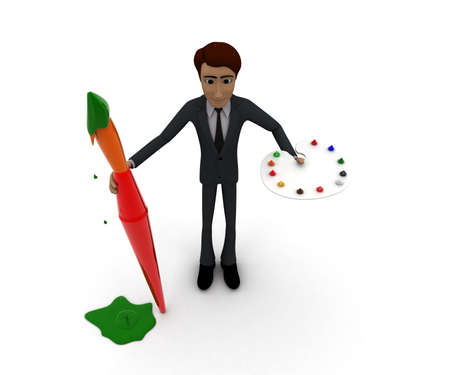 paint palette: 3d man holding a paint brush and paint palette concept in white isolated background, top angle view
