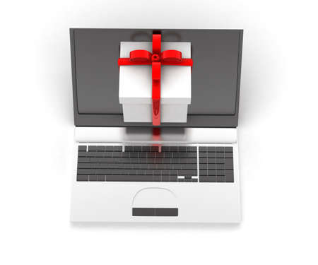 coming out: 3d gift coming out from laptop screen concept in white isolated background, top angle view