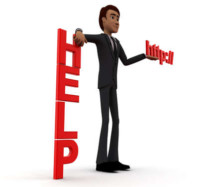 http: 3d man presenting help text and http text in hands concept in white isolated background, side angle view