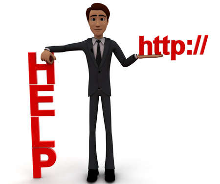 http: 3d man presenting help text and http text in hands concept in white isolated background, front angle view