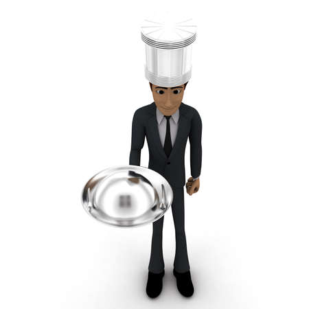 serving dish: 3d man chef serving dish in hands concept in white isolated background, top angle view Stock Photo