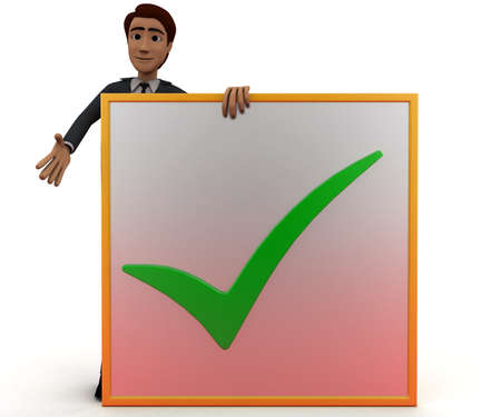 to accept: 3d man presenting a board - accept sign in it concept in white isolated background, front angle view Stock Photo