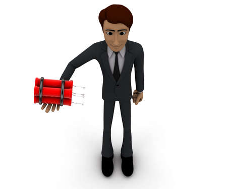 dynamite: 3d man holding dynamite concept in white isolated background, top angle view