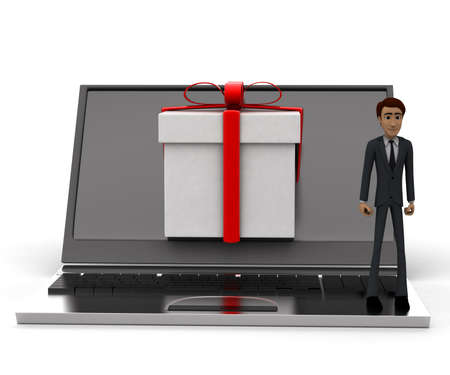 laptop screen: 3d man presenting laptop and a gift coming out from laptop screen concept in white isolated background, front angle view Stock Photo