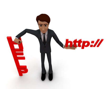 http: 3d man presenting help text and http text in hands concept in white isolated background, top angle view