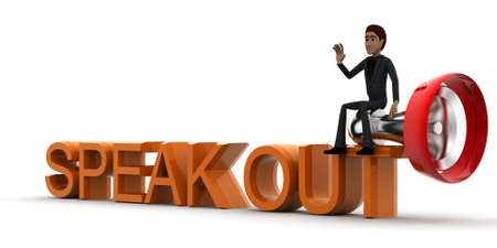 speak out: 3d man speak out concept in white isolated background, side angle view Stock Photo