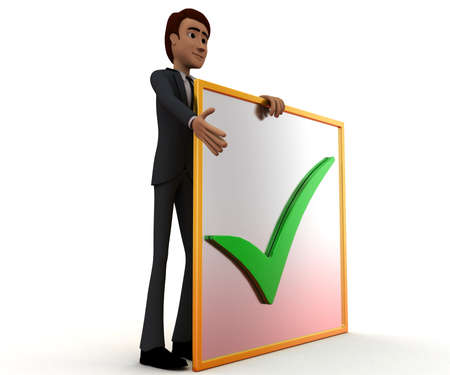 to accept: 3d man presenting a board - accept sign in it concept in white isolated background , side angle view