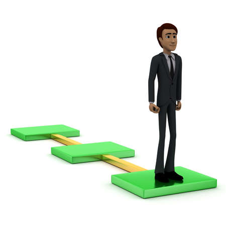 guy standing: 3d man standing in front of a a flow chart concept in white isolated background, side angle view Stock Photo