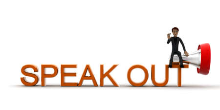 speak out: 3d man speak out concept in white isolated background, front angle view