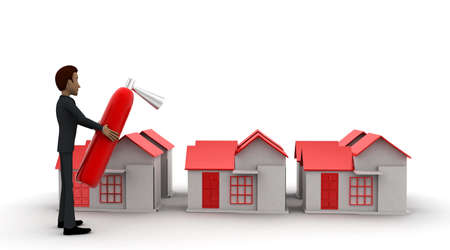 house on fire: 3d man protecting house - fire with the help of fire extinguisher concept in white isolated background, front angle view Stock Photo