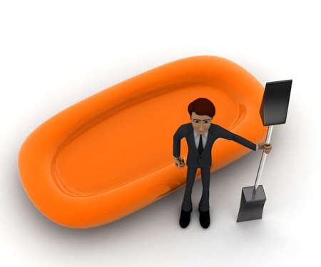 saver: 3d man presenting life saver boat and its pedal concept in white isolated background, top angle view
