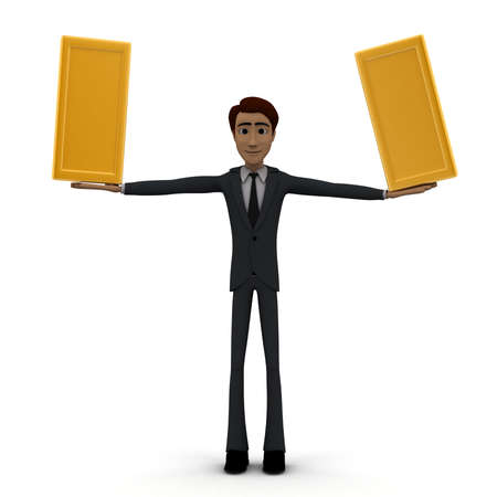 biscuts: 3d man holding gold biscuits in hands concept in white isolated background, front angle view Stock Photo