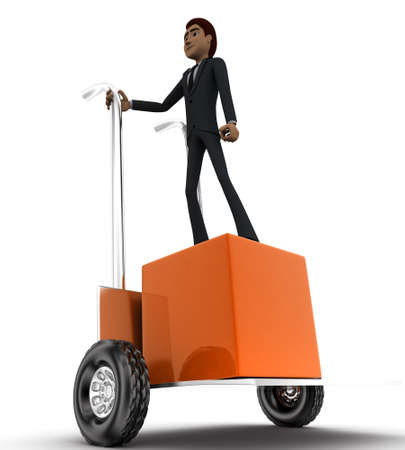 trolly: 3d man standing on cargo in a trolley concept in white isolated background,  front angle view Stock Photo