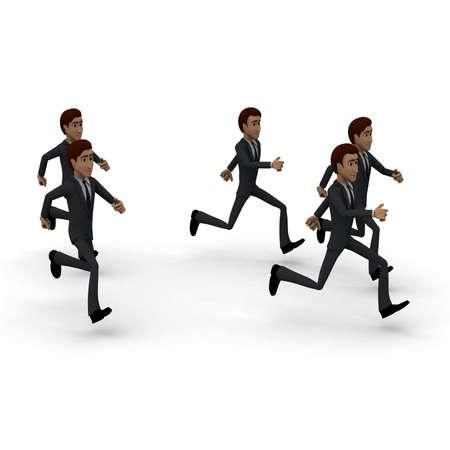 hombres corriendo: Los hombres en 3D que se ejecutan en concepto de grupo en fondo blanco, ángulo de vista lateral Foto de archivo