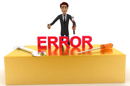 errors: 3d man with error text and wrench concept on white background, front angle view
