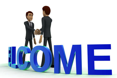 doing: 3d man doing hand shake and blue WELCOME text concept on white  side angle view Stock Photo