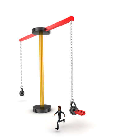 heavy weight: 3d man running from big and heavy weight hammer on which TAX is written concept on white  top angle view